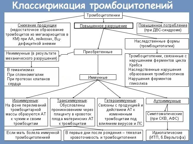 Классификация тромбоцитопении